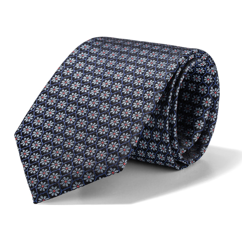Navy and White Dasies Tie