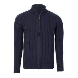 Navy Slim Fit Cable Knit Zip Up Jacket