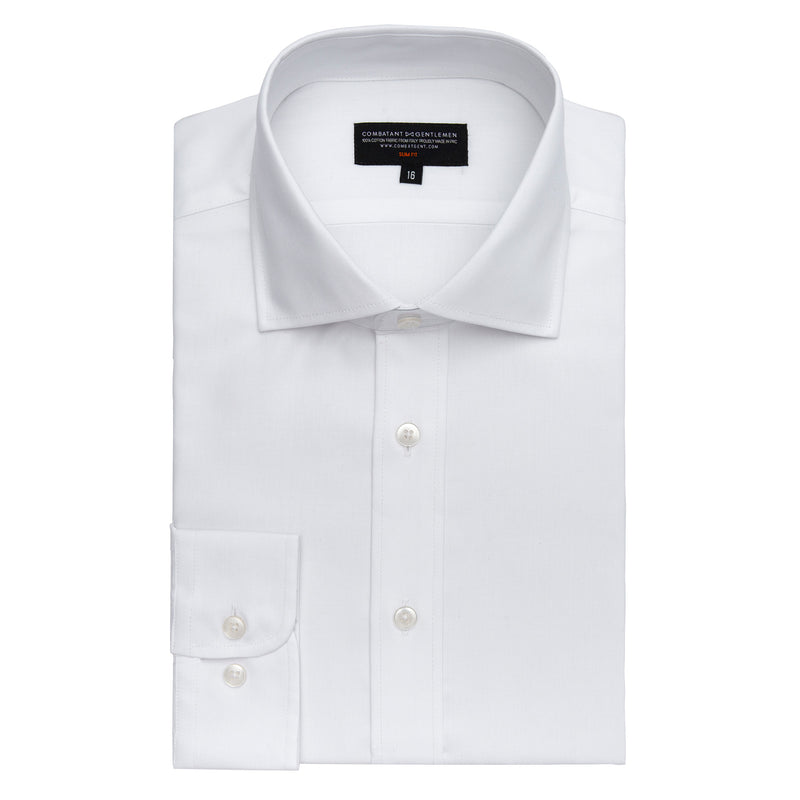 White Herringbone Slim Fit Wide Spread Collar Shirt