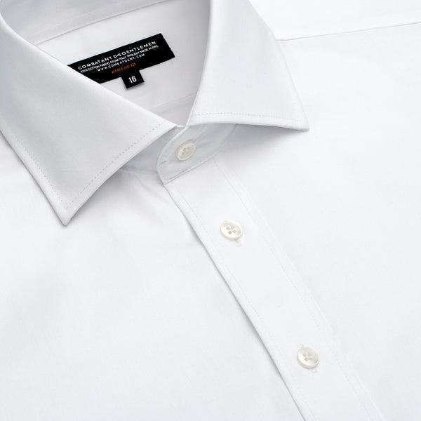 White Herringbone Athletic Fit Wide Spread Collar Shirt