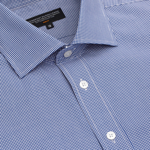 Navy Micro Gingham Slim Fit Wide Spread Collar Shirt