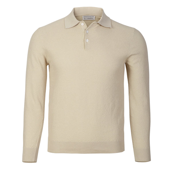 Ivory Slim Fit Long Sleeve Knit Polo