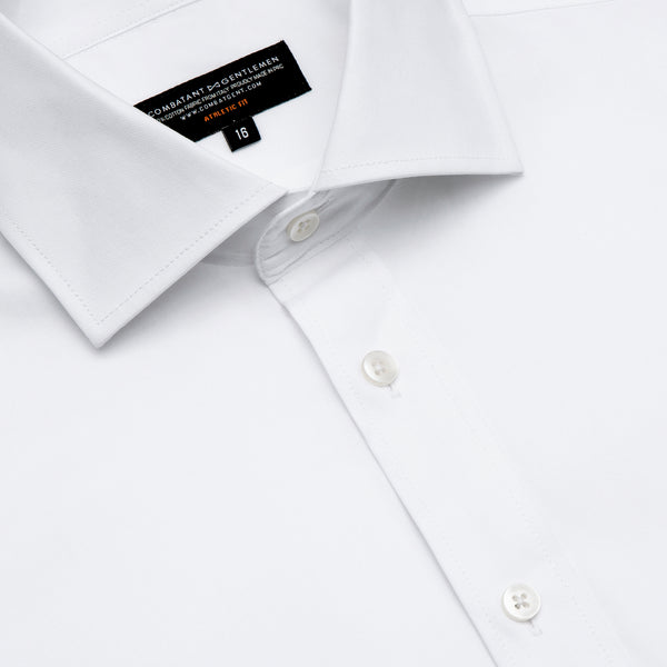 White Twill Athletic Fit Wide Spread Collar Shirt
