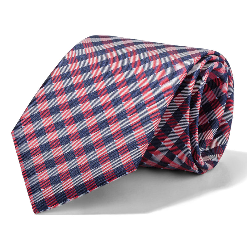 Navy, Red, and White Gingham Tie