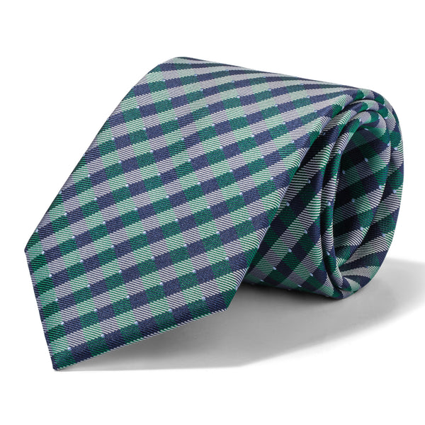 Green, Navy, and White Gingham Tie