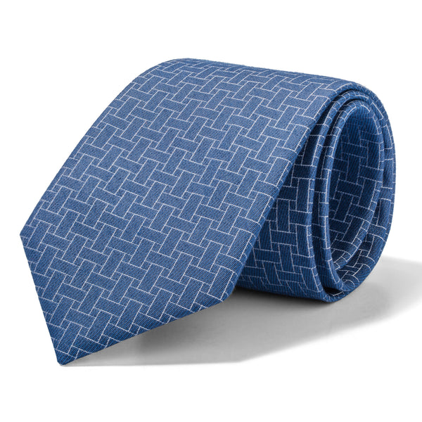 Light Blue and White Geometric Weave Tie