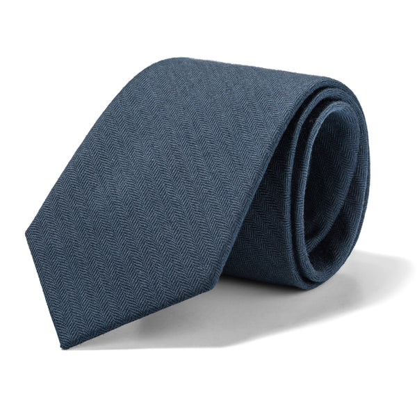 Slate Blue Mini Herringbone Tie
