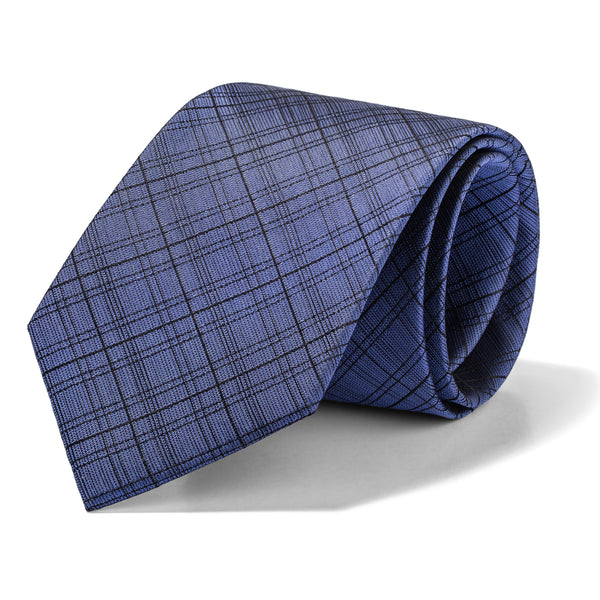 Blue Grey Multi Plaid Tie