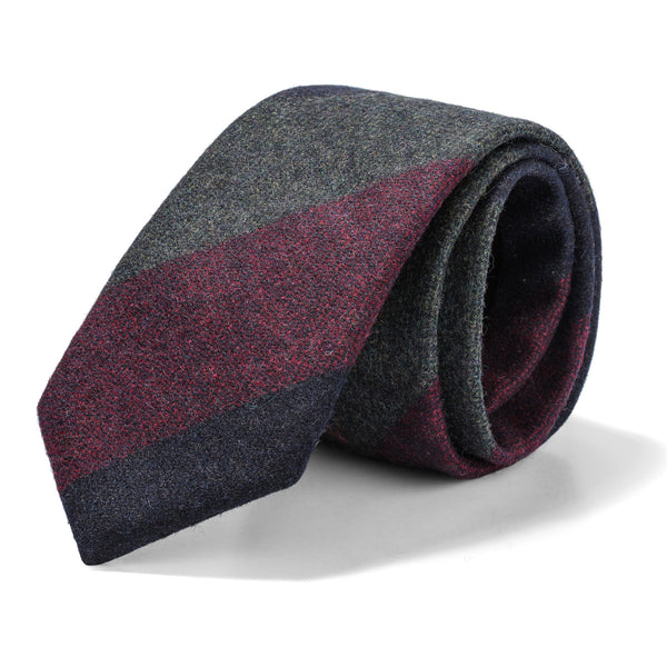 Grey, Burgundy, and Navy Wide Stripe Tie