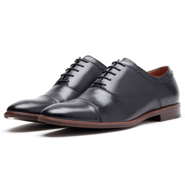 Black Cap Toe Lace Up Oxford