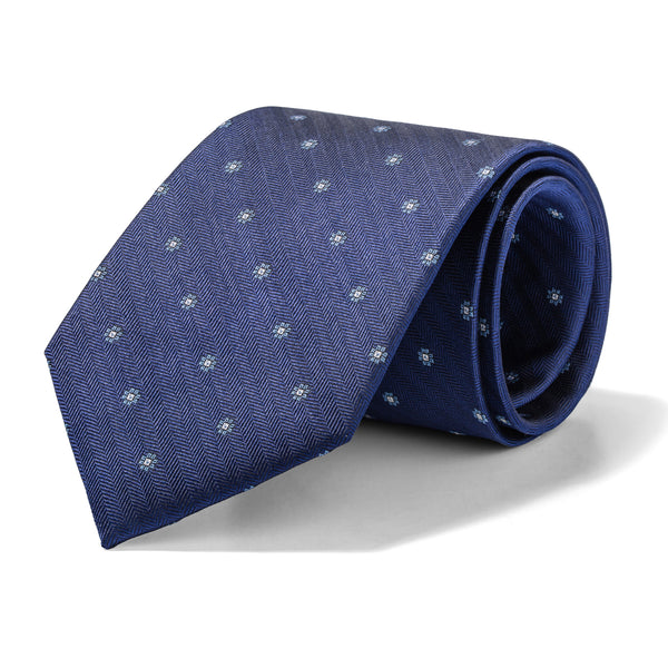 Navy Mini Herringbone and Floral Tie