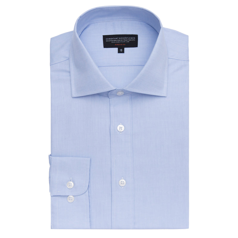 Light Blue Herringbone Athletic Fit Wide Spread Collar Shirt