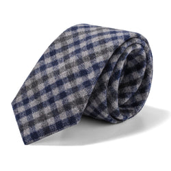 Grey and Navy Gingham Tie