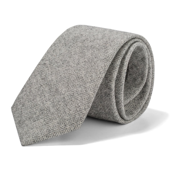 Light Grey Mini Herringbone Tie