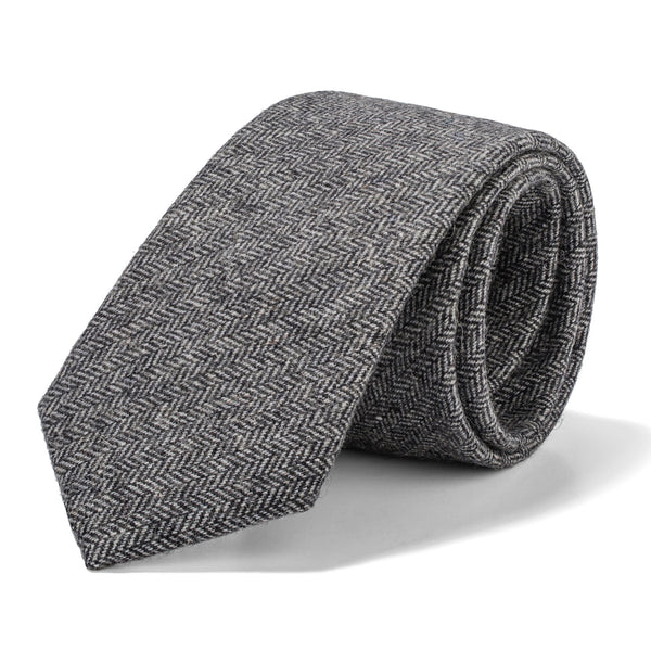 Light Grey Herringbone Tie