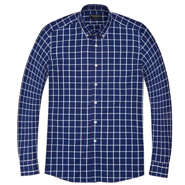 Navy Madras Athletic Fit Button-Down Collar Shirt
