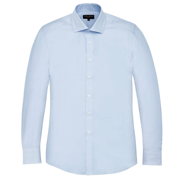 Light Blue Twill Slim Fit Wide Spread Collar Shirt