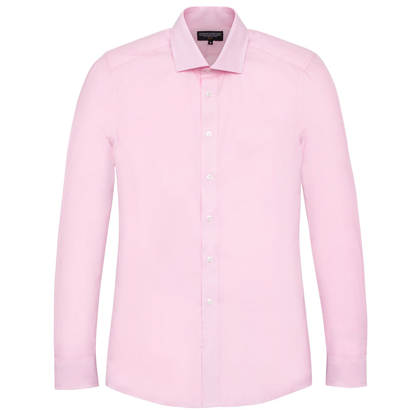Pink Twill Slim Fit Wide Spread Collar Shirt