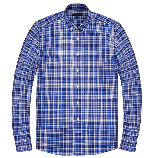 Light & Dark Blue Double Madras Athletic Fit Button-Down Collar Shirt