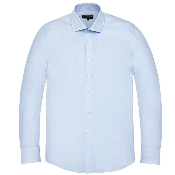 Light Blue Twill Athletic Fit Wide Spread Collar Shirt