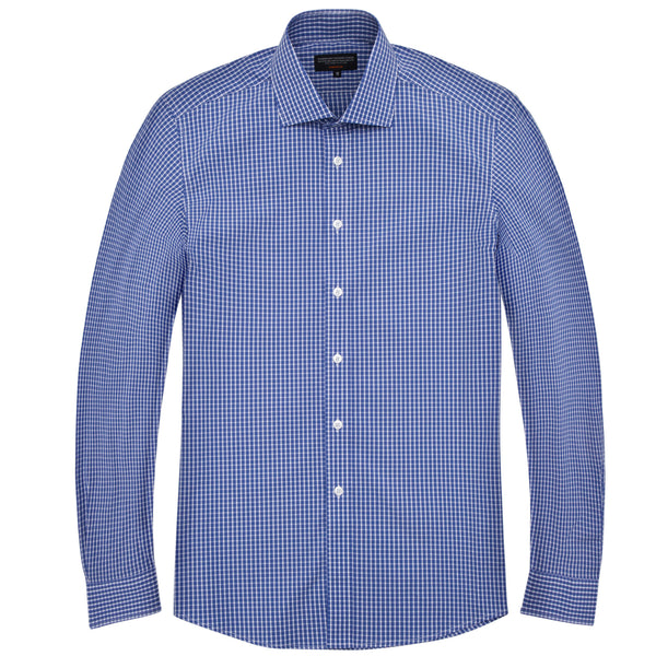 Blue Gingham Grid Check Athletic Fit Wide Spread Collar Shirt