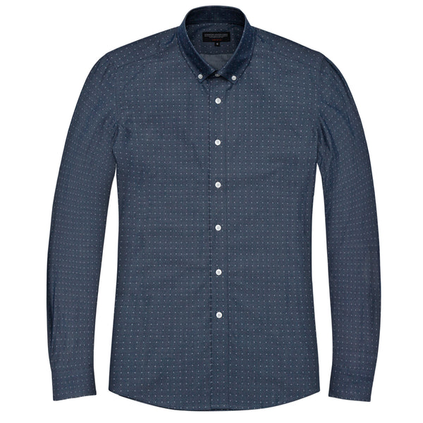 Diamond Indigo Chambray Slim Fit Button-Down Collar Shirt