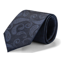 Black and Grey Monochrome Paisley Tie