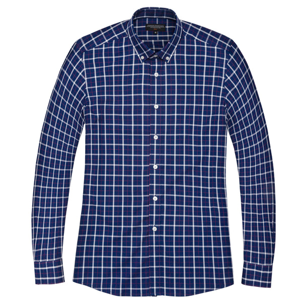 Navy Madras Slim Fit Button-Down Collar Shirt