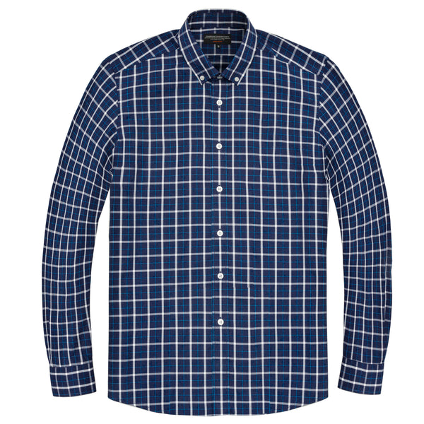 Blue Madras Athletic Fit Button-Down Collar Shirt