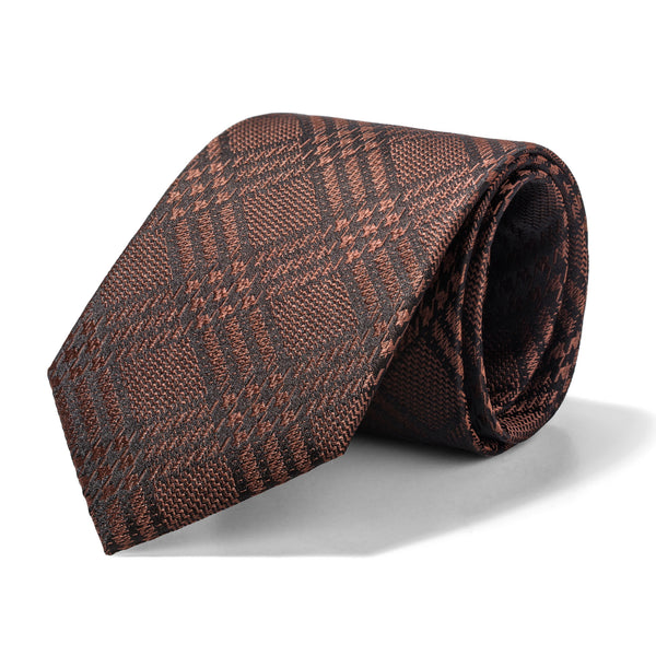 Copper and Black Glen Plaid Tie