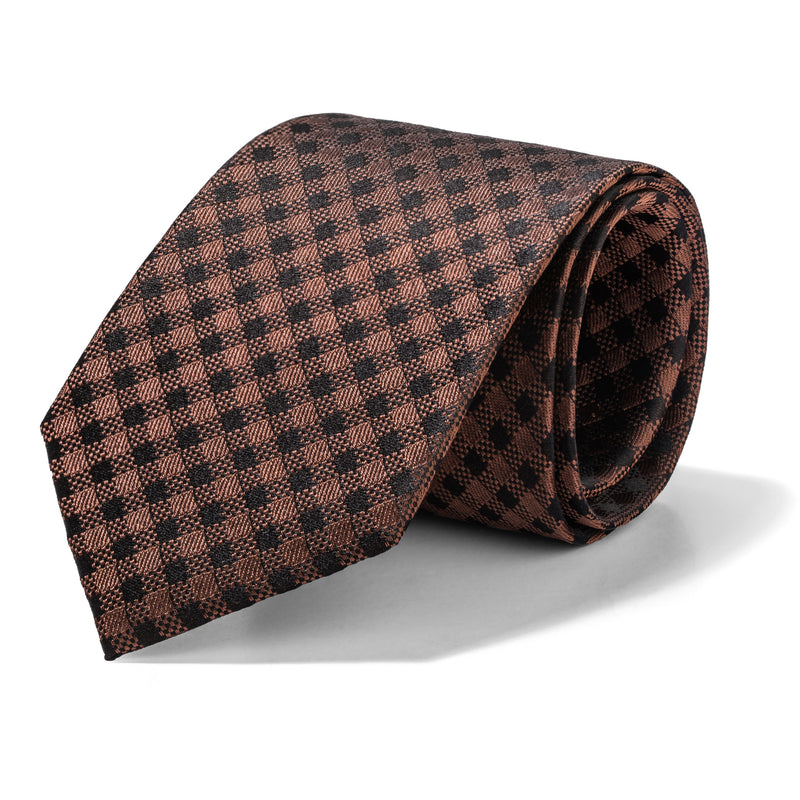 Copper and Black Gingham Tie