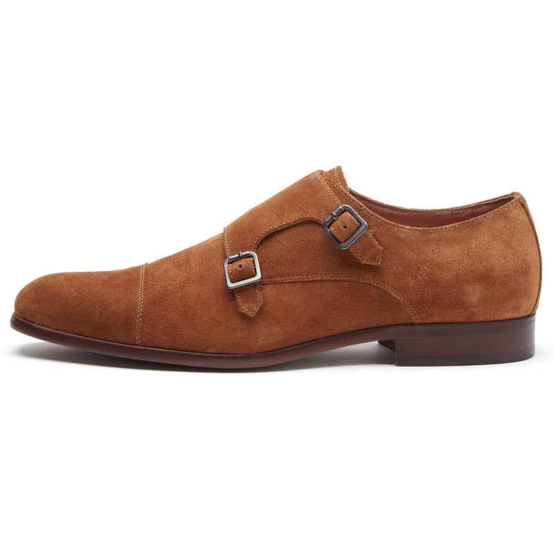 Brown Suede Double Monk Strap