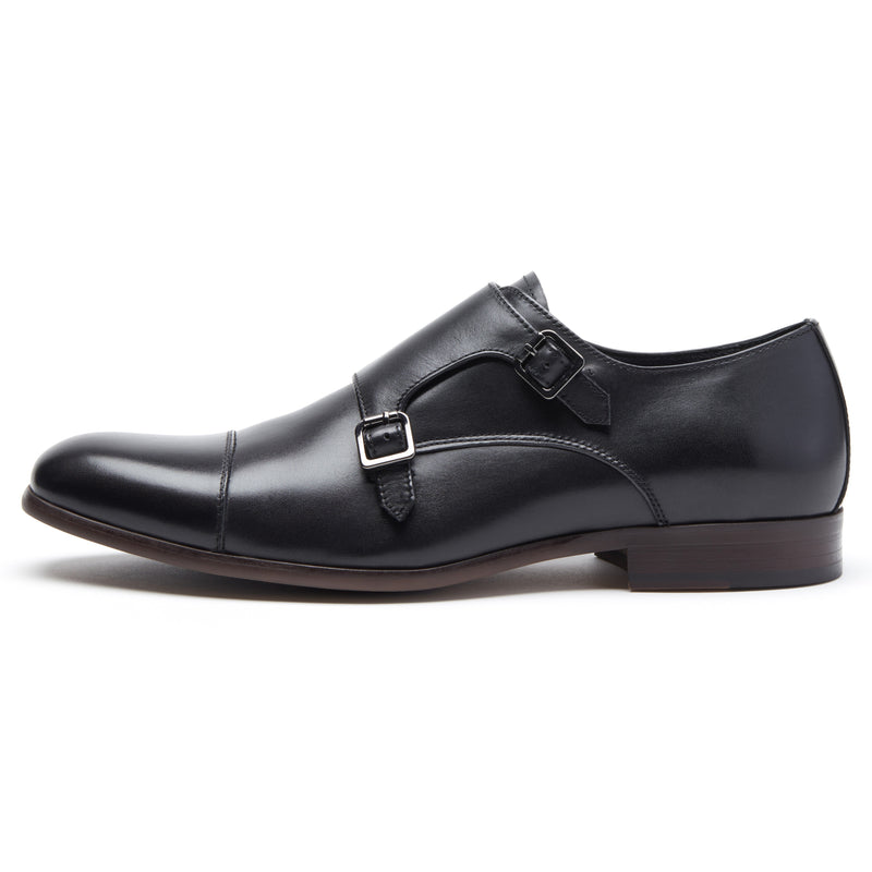 Black Leather Double Monk Strap
