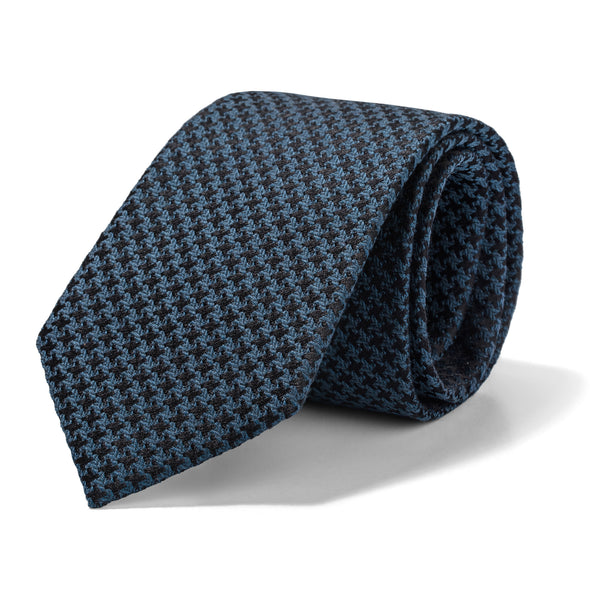 Slate Blue and Black Houndstooth Tie