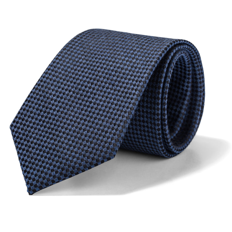 Slate Blue and Black Mini Houndstooth Tie