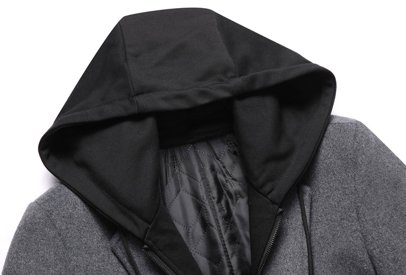 Grey Dual Layer Top Coat With Hooded Interior Bib