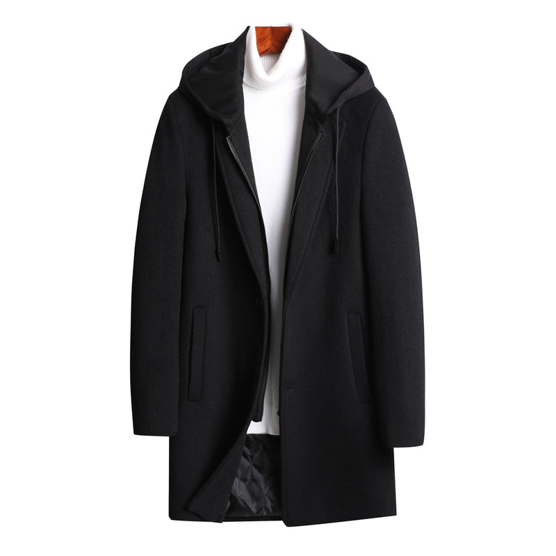 Black Dual Layer Top Coat With Hooded Interior Bib
