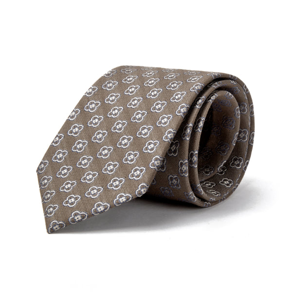 Brown Oxford Texture With Daisy Tie