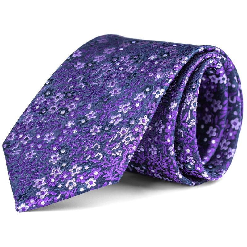 Purple and Navy Mini Floral Tie