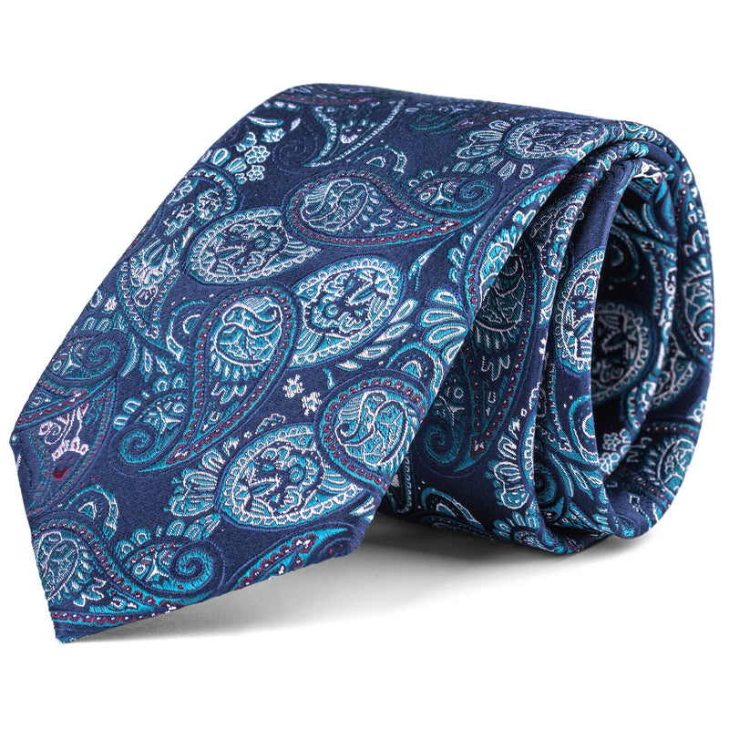Navy and Emerald Green Large Paisley Tie