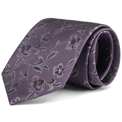 Purple and Charcoal Floral Tie