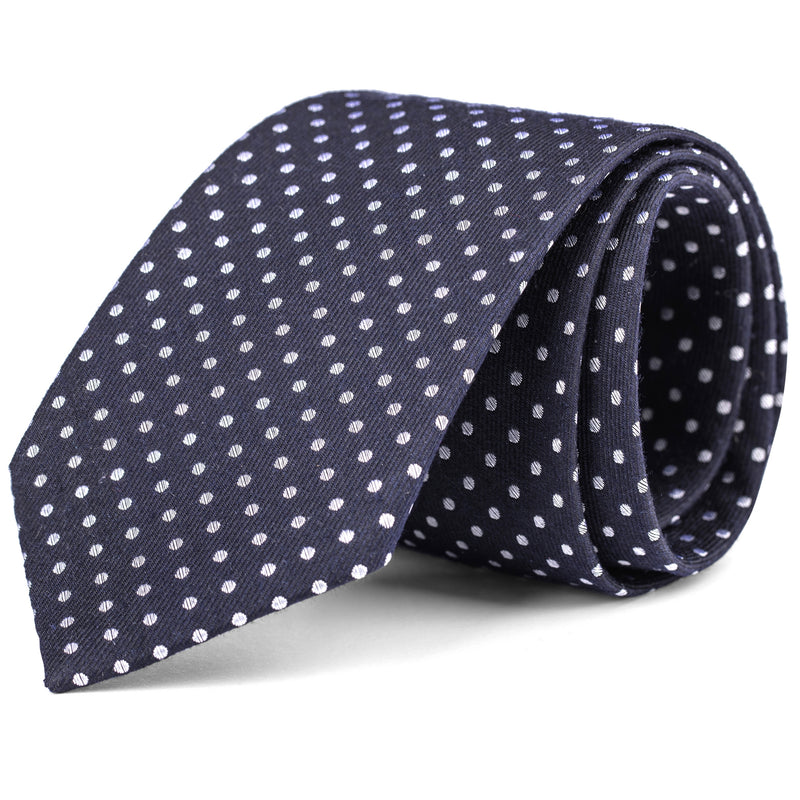 White and Navy Small Dot Tie