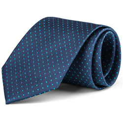 Navy and Turquoise Mini Dot Tie