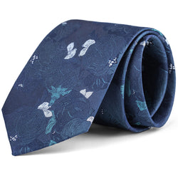 Navy and White Large Floral Tie