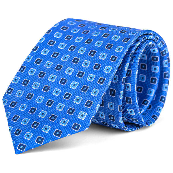 Light Blue and Navy Mini Box Tie