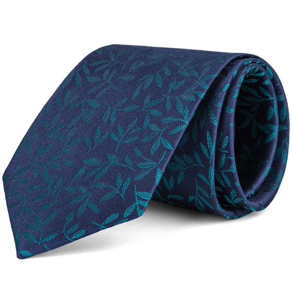 Emerald Green and Navy Leaf Print Tie
