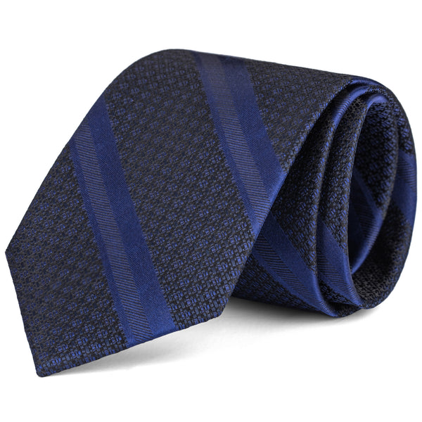 Royal Blue and Black Textured Stripe Tie