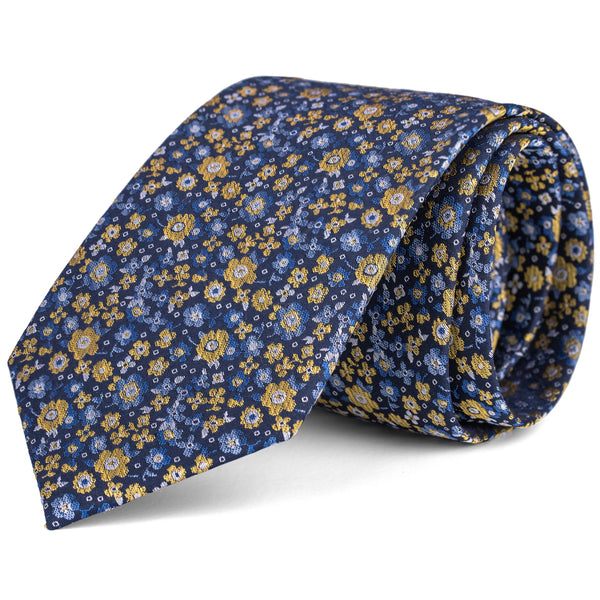Yellow and Navy Mini Floral Tie