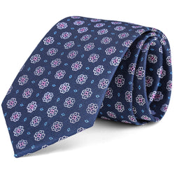 Navy and Pink Foulard Tie