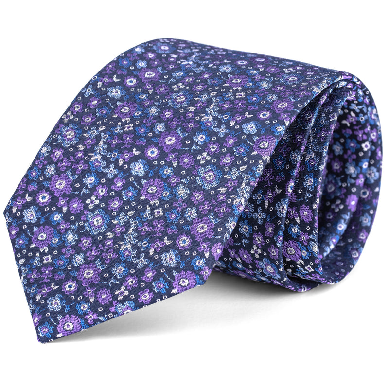 Lavender and Navy Mini Floral Tie